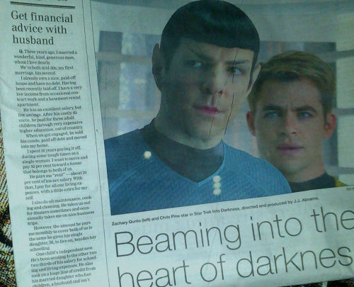tangledinthemaneofsamwinchester:  so this was in the paper a few days ago I particularly like the article placed beside it