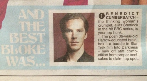 iwillburnthecakeoutofyou:  Benedict wins the sexiest male Brit in the sun. Obviously. (Tom Hiddleston was number 7 eheheh)
