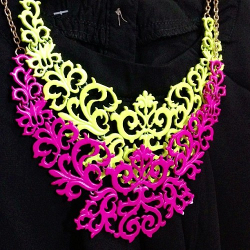 gertiesoddsnends:  #neon #bibnecklace 250PHP each. Also available in neon orange! 😊 PM us on http://www.facebook.com/WeAreCNGonline if interested. #necklace #accessory #fashion #forsale