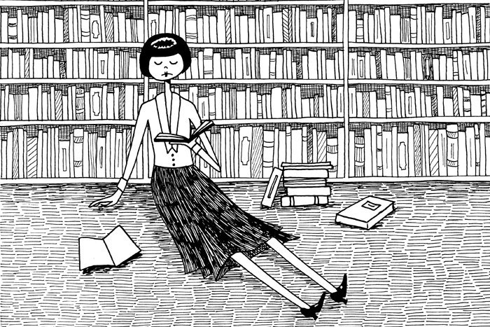 She just wanted to read books and do nothing else by Flapper Doodle
