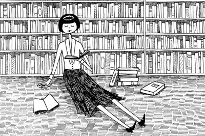 bookporn:  She just wanted to read books and do nothing else by Flapper Doodle
