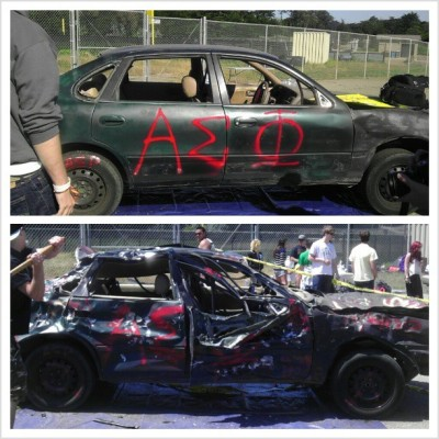 Before and After of Alpha Sigma Phi's Car Smash today!!! It was definitely a success! Thanks to all who came out! #alphasigmaphi #alphasig #brotherhood #cars #livestrong