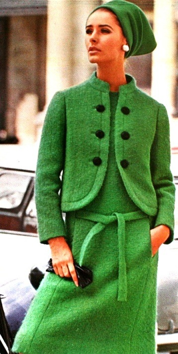 Model wearing a dress with jacket by Lanvin for Vogue Patterns, Summer 1965.