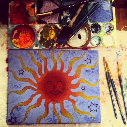Always look on the bright side #painting #sun #sky #stars #smile #art