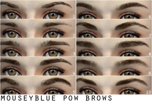 Happy 2013 everyone! Here's 10 sets of eyebrows for you, colour preview (black, brown, light brown, blonde and ginger). They are all custom. Enjoy. DOWNLOAD