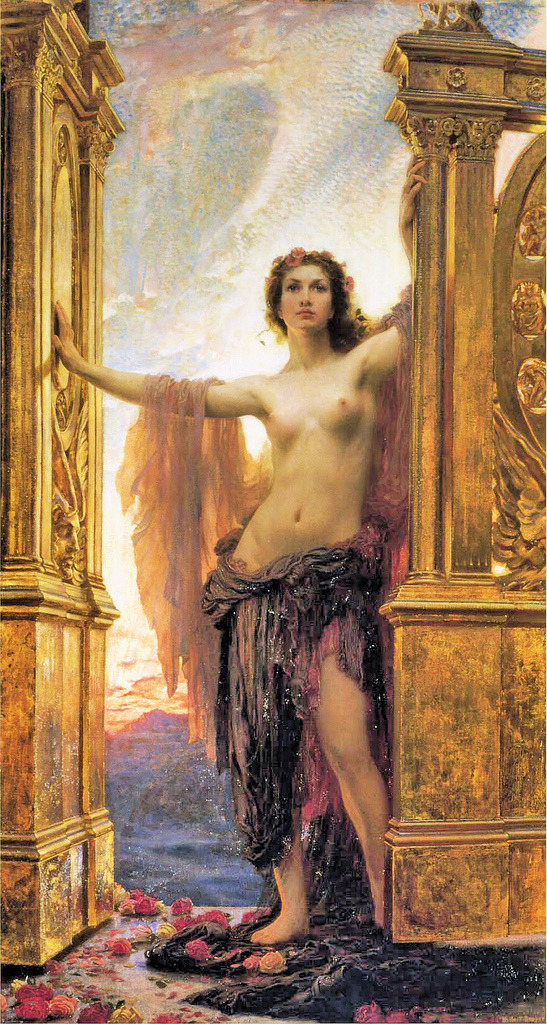 "pmikos:  Herbert James Draper, ""The Gates of Dawn"" 1900 (by sofi01)"