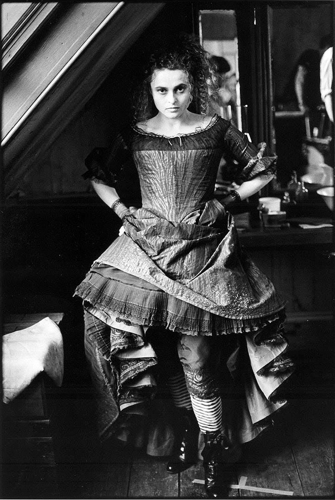Helena Bonham Carter photographed by Mary Ellen Mark on the set of Sweeney Todd