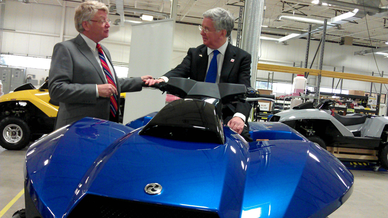 UK Business & Energy Minister Michael Fallon trying out an amphibious Gibbs Quadski in Detroit Minister Fallon is in Detroit meeting with existing investors in the United Kingdom and highlighting the significant opportunities in the UK's automotive industry. Learn more ›