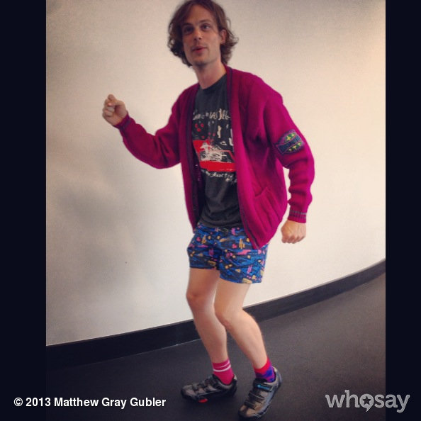 gublernation:  Checklist: bathing suit, lady's wool sweater, robot shoes = READY TO SPIN View more Matthew Gray Gubler on WhoSay   Right: solid (mostly), pink; Left: pattern - ?, red, pink, blue.