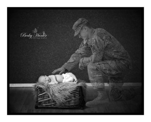 """Dad is currently serving in Afghanistan and couldn't be here for the birth of his first child! I have never met dad, but I contacted him privately through facebook as a surprise for mom. I explained to him what I'd like to do with his son's photo session, and asked if he thought he could get someone to take a couple photos for me so that I could merge his photo with my photo and create this image for them. I am very thankful to whomever took the photos of him, because they sent me exactly what I needed to make this work. You might find this hard to believe, but dad is actually kneeling down in the sand in Afghanistan! True!!! But after much photoshop work, and a whole lot of heart, I was able to create this breath-taking image for them! Although dad can't be here with his son at this time, I know he was here in spirit! I am thankful to have had an opportunity to do something so meaningful for a family that gives so much! This dad will not get to meet, touch, kiss or hold his son until he is nearly 9 months old ~ Don't ever take for granted the sacrifices our soldiers and their families make every day for the love of their Country! And if an opportunity ever presents itself that you can do something to give back to just one of these families, DO IT, with your whole heart! I look forward to meeting this brave soldier when he returns from duty!"" -Becky Hunter Photography"