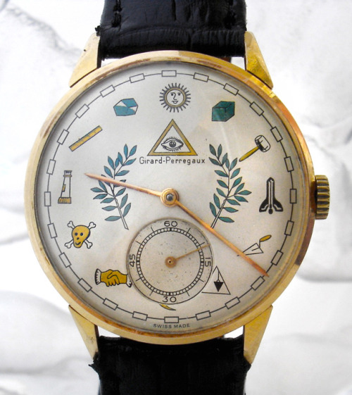 pizzzatime:  laughingsquid: Masonic Dial Watch (1950s)
