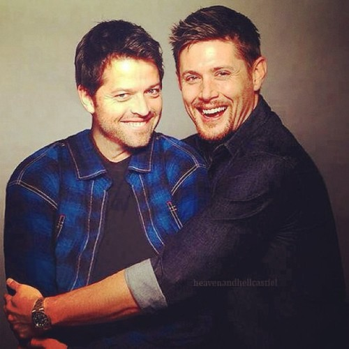 thehalfbloodpsych:  I love these two! @officialmisha #jensenackles  I'm sorry.  This is adorable.