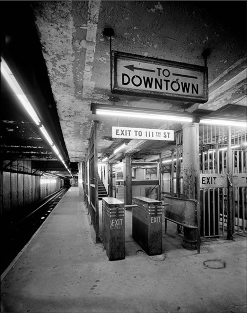 110th Street and Lennox Ave subway platform NYC, 1970