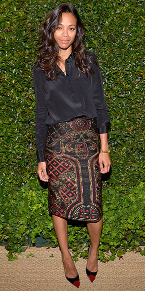 Obsessed with this look… tallgirltales:  Zoe Saldana in Prabal Gurung separates & Christian Louboutin pumps at an event hosted by Vogue and Mac in honor of Prabal.