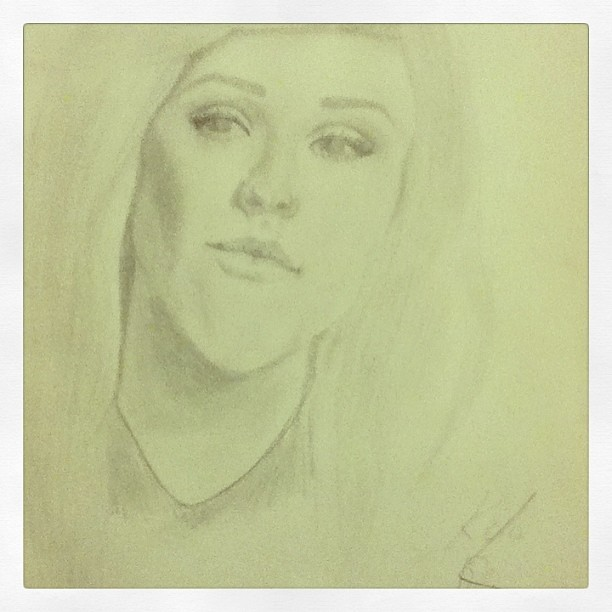 Crap photo of my Ellie Golding portrait.