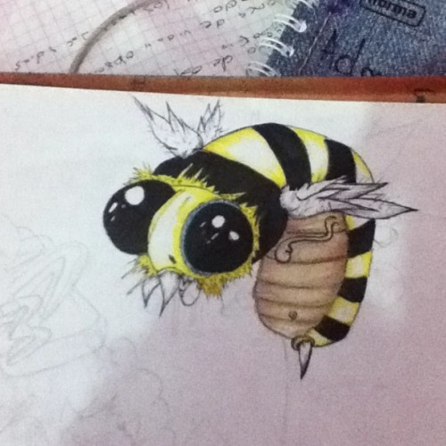 #sketch #bee #watercolors #markers #ilustration