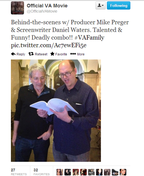 Behind the scenes pic of Daniel Waters and Michael Preger