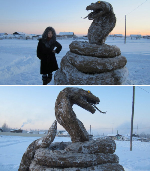 Somebody in Russia made this. It's a giant cobra statue made out of frozen cow shit. Created by Mikhail Bopposov Via