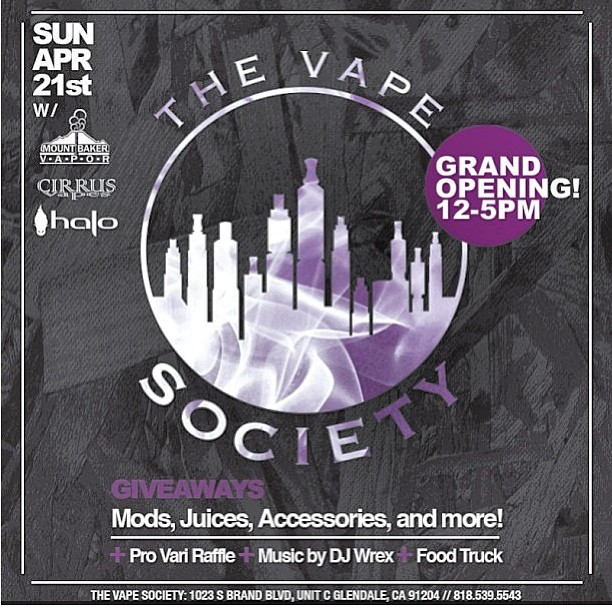 it's going down this weekend… come out and support #thevapesociety Grand Opening!!  Pro Vari raffle, giveaways, prizes, DJ and food truck. Sunday 4/21 from 12-5 PM. 1023 S. Brand Blvd, Unit C, Glendale CA 91204 @thevapesociety #vape #vapelyfe #vapeporn #vapestagram #vapestgramm #getyourvapeon