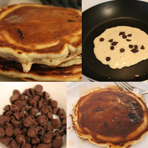 Home made chocolate chip pancakes from scratch