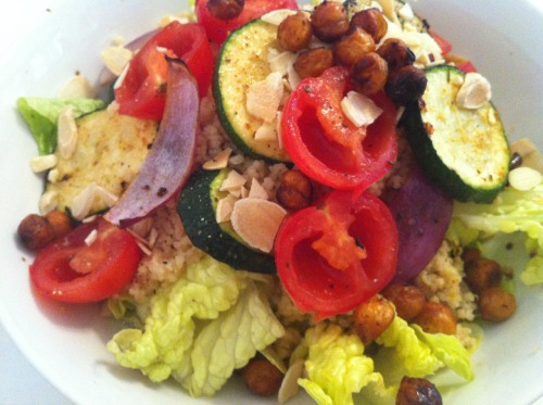 Whole wheat cous cous, baked chick peas, flaked almonds, roasted courgette and red onion, baby tomatoes (Home meal)