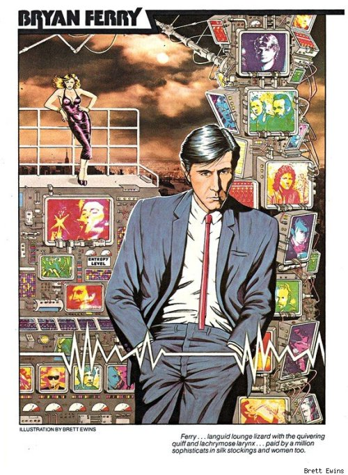 Bryan Ferry pinup, Visions of Rock (198?) Brett Ewins.