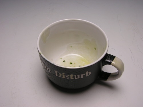 'Disturb' - 2013 found ceramic mug with vanadium glaze   Oh God, That's disgusting.