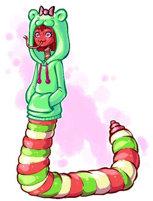 dasmuskel:  I tried to make a decent naga. Came out with this girl instead. She's a gummy worm naga. Ehh… could've come out better… day 4: naga.