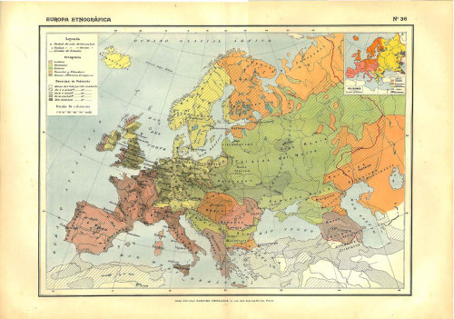 Ethnographic Map of Europe, Vintage Map, 1910s, Lithograph at CarambasVintage http://etsy.me/14UwkE0