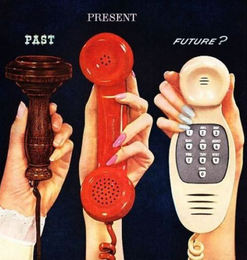explore-blog:  Phone evolution – vintage ad for Western Electric, the manufacturing arm of AT&T, and more vintage visions for the future of technology.