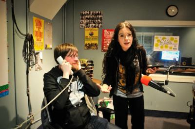 Here's Andrew & me during the second leg of CJLO's 24hr radio marathon during BVSTNT, manning the phones and making sweet, sweet radio. We were there with a big gang of CJLOixcans until 9am this morning, and if you missed the last four hours, you missed easily some of Montréal's best/worst radio ever. You can still donate to CJLO, and come out to our upcoming events. All the info you need is right here.  [Thanks to thesoundofmylens for the photo!]