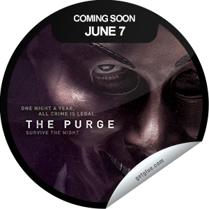 I just unlocked the The Purge Coming Soon sticker on GetGlue                      1804 others have also unlocked the The Purge Coming Soon sticker on GetGlue.com                  One night a year, all crime is legal. The Purge is coming soon. Be sure to see it in theaters when it opens on 6/7.  Share this one proudly. It's from our friends at Universal Pictures.
