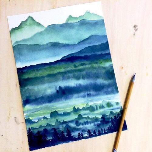 landscape watercolor painting tree line mountains beauty beautiful acrylics drawing idea gorgeous art artistic artist talent talented artist artistic talent