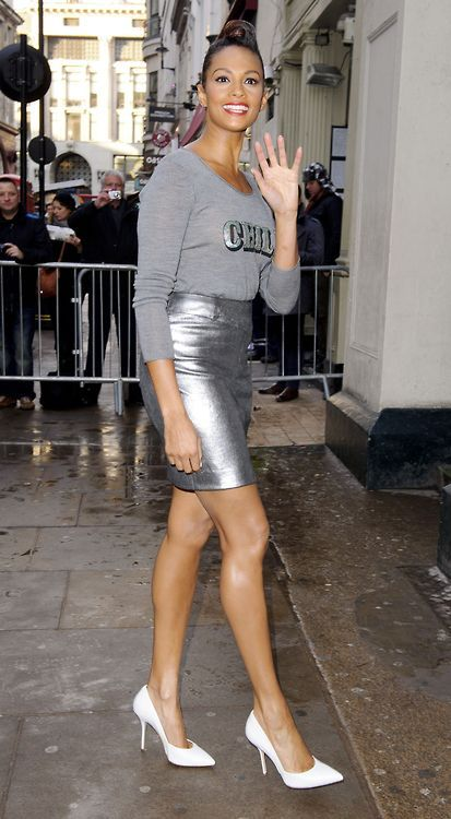 "Get the Look: Alesha Dixon's Britain's Got Talent Auditions Markus Lupfer Spring 2013 ""Chill"" Knit Top and Joseph Clare Metallic Pencil Skirt"