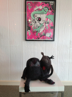 "My plushies under the amazing ""Eye of the Serpent"" screen print by Ewing x Buff Monster at Somos Media and Gallery~"