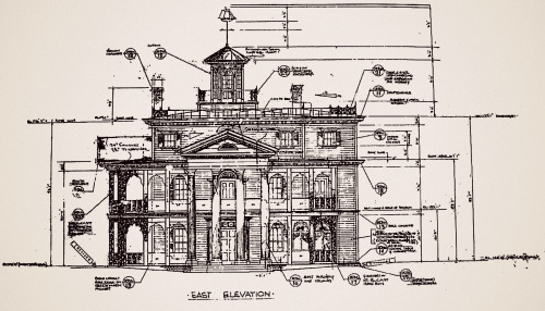 "Blueprints for ""The Haunted Mansion"" at Disneyland."