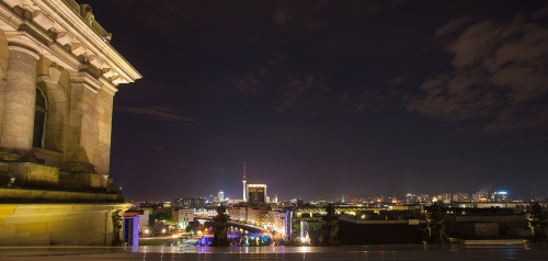 Berlin at night, from the top of The Reichstag.  Berlin, Germany.