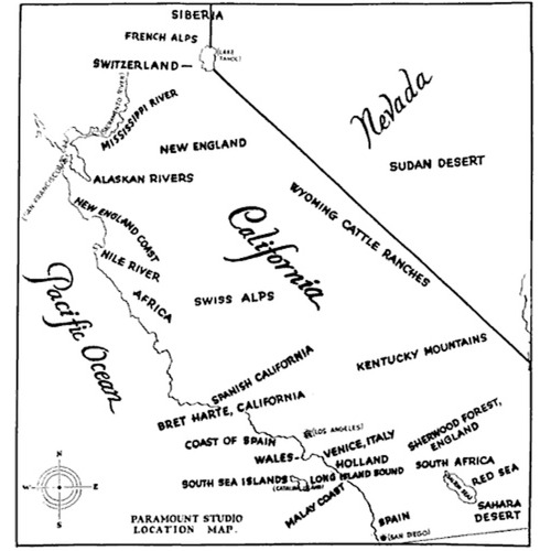 nedhepburn:  gokngo:  A 1927 Paramount Studio map of California suggesting locations where movies could be shot, instead of going to the actual places.  Home.