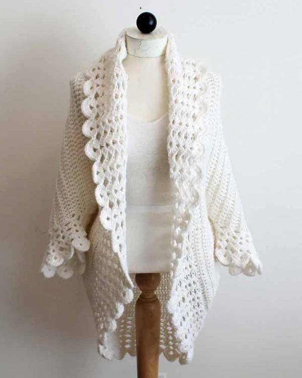 You can buy the pattern for this lovely crochet jacket — the Shell Edge Jacket — from Maggie's Crochet for a wee fee.  I think that this is lovely!