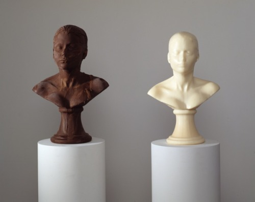 "letmypeopleshow:  Self-Portrait as a Self-Destructing Chocolate Head Many of us attending the opening of the New Museum's ""NYC 1993"" saw visions of our former selves back in the day, but no one had more selves there than Janine Antoni. On the second floor, on a row of high plinths, are 14 Antoni heads. These are her famous self-portraits, Lick and Lather, casts made in chocolate and soap that were modeled on classical busts and ""re-sculpted"" by the processes described in the title. Standing nearby, Antoni enjoyed watching visitors walk up close to the heads, and smell them. ""There's not a lot of time between smelling and biting,"" concedes the artist, whose heads have been attacked that way on several occasions. ""It's a funny thing when you make pieces about desire and people succumb to their desire."" Antoni is happy to make replacement heads, which she does using FDA-approved latex molds: ""Then I have to re-lick it, which is a bummer.""  Read more at ARTnews.com Detail of Janine Antoni's Lick and Lather, 1993.  COURTESY THE ARTIST AND LUHRING AUGUSTINE, NEW YORK.  On view through May 26!"