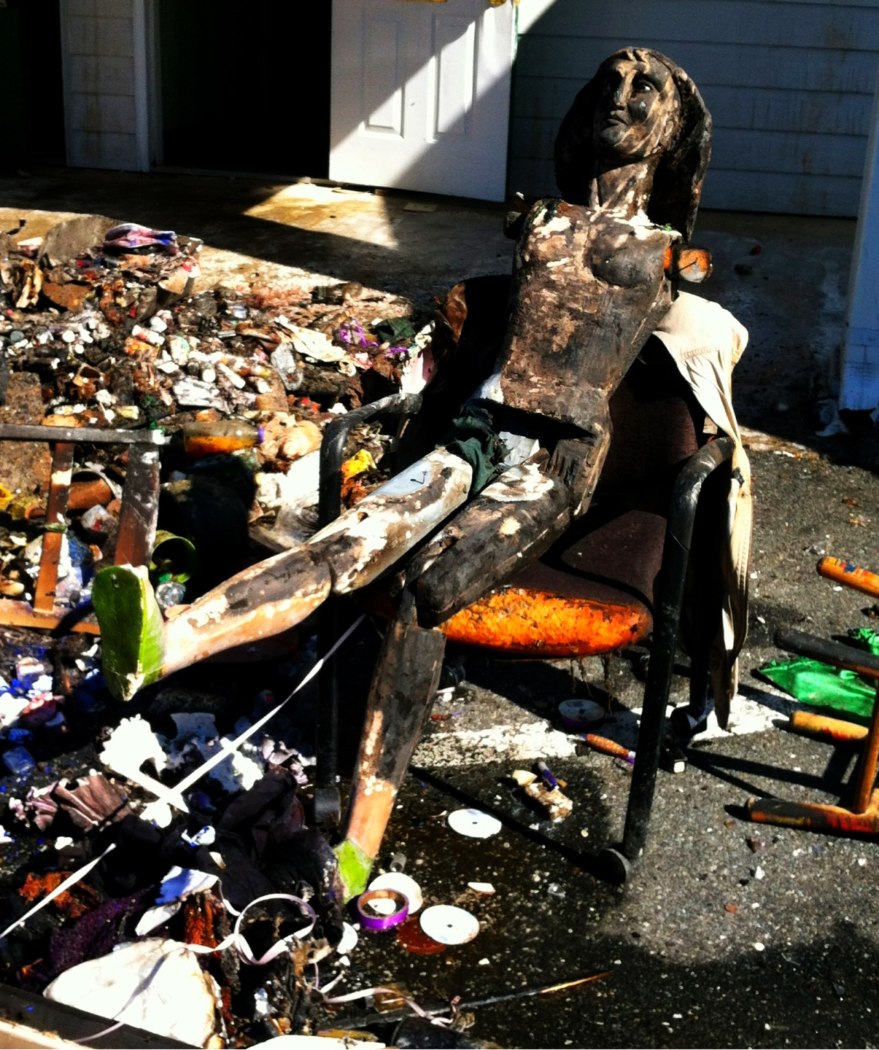 A fire next door produced charred mannequins.