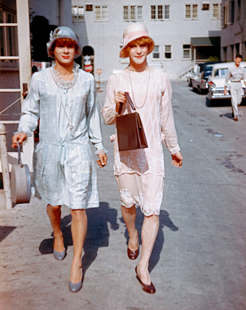 boojimgettys:  Tony Curtis & Jack Lemmon on the set of Some Like It Hot, 1959.