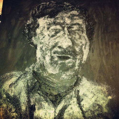 Pablo Escobar portrait in progress, made entirely of sugar, sumi ink and glue.
