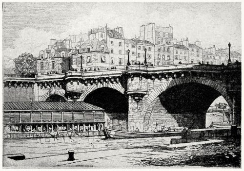 The Pont Neuf, Paris.  Herman A. Webster, from Prints and their makers, by Fitzroy Carrington, London, 1913.  (Source: archive.org)