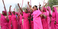 hadarlikestoblog:  BAD GIRLS DO IT WELL The Gulabi gang is a group of women vigilantes active across North India. It is named after the pink saris worn by its members. The group was founded as a response to widespread domestic abuse and other violence against women. Gulabis visit abusive husbands and beat them with bamboo sticks. In 2008, they stormed an electricity office and forced officials to restore the power they had cut to extract bribes. The Gulabis have also stopped child marriages and protested dowry and female illiteracy.