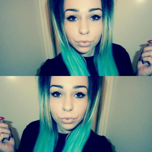 """this is my friend Rachael, her hairs a mix of green and blue crazy colour dyes. "" Awesome, thanks to both of you for sharing the pic!"