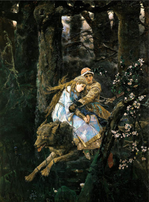 "touchrussia:  Russian art in pills: Viktor Vasnetsov  Viktor Vasnetsov, an outstanding Russian painter and one of the founders of the national romantic version of Russian art nouveau, was born on May 15, 1848, in the village of Lopyal in Vyatka Province. Learn more about him  Image: ""Prince Ivan riding the grey wolf"", 1889. Source: Viktor Vasnetsov"