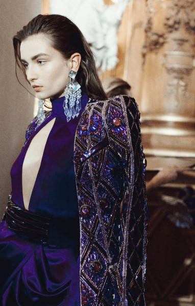 leacolombo:  Andreea Diaconu at BALMAIN A/W13 by Lea Colombo   I'm in love.