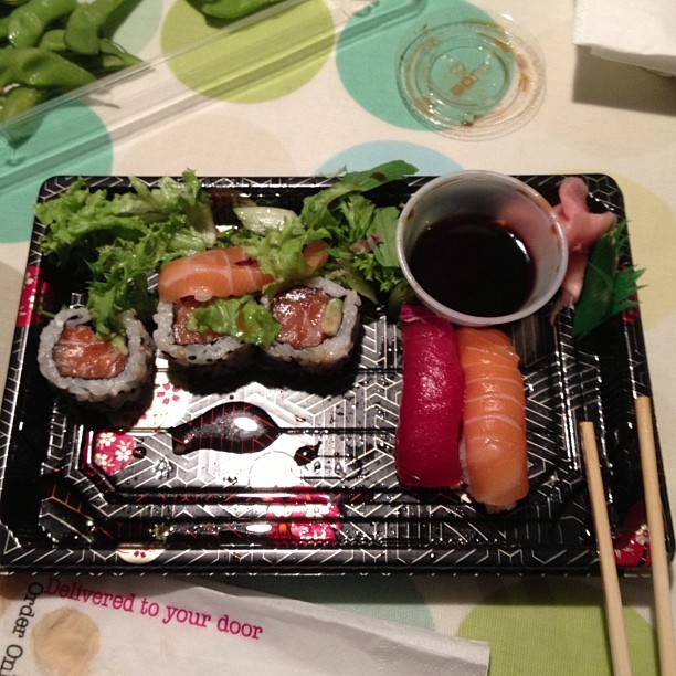 Dinner last night #youmesushi #salmon #avocado #love #delicious
