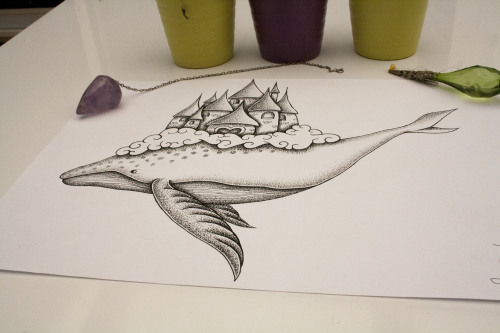 whale drawing whale castle drawing castle drawing dotwork dot art dotart dot cute imaginary fantasy drawing artists on tumblr artist